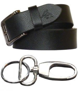 Buy Sondagar Arts Formal Black Genuine Leather With Key Chain online