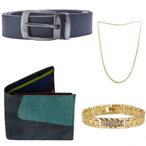 Buy Sondagar Arts Latest Belt Wallet Bracelet Chain Combo Offers For Men online