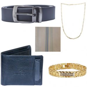Buy Sondagar Arts Combo Of Belt Wallet Chain Bracelet Hankerchief For Men online