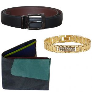 Buy Sondagar Arts Formal Black Belt Wallet Bracelet Combo Offers For Men online