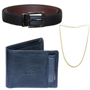 Buy Sondagar Arts Formal Black Belts Wallet Chain Combo Offers For Men online