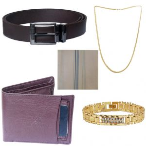 Buy Sondagar Arts Latest Belt Wallet Bracelet Chain Handkerchief Combo Offers For Men online