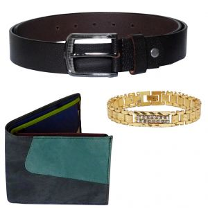 Buy Sondagar Arts Latest Belt Wallet Bracelet Combo Offers For Men online