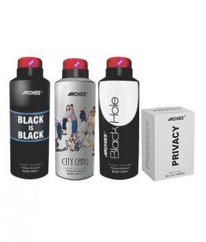 Buy Archies Deo City Gang & Black Is Bkack & Black Hole + Perfume Privacy-(code-vj656) online