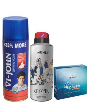 Buy Archies Deo City Gang & Vijohn Shave Foam 400gm For Hard Skin & After Shave Splash-(code-vj781) online