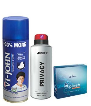Buy Archies Deo Privacy & Vijohn Shave Foam 400Gm For All Type Of Skin & After Shave Splash online