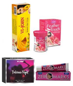 St.John-Vijohn Women Care Kit (Hair Remover Honey/Saffron & Turmeric Cream Fairness Cream & Body Butter & Perfume Delious Night)-(Code-VJ477)