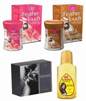 Buy St.Johnvijohn Feather Touch Hair Removal Cream (Rose & Sandal) 40Gm & Perfume Embrace 50Ml & Almond Hair Oil 50Ml online