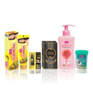 Buy Vi-john Women Beauty Kit (turmeric Cream 50gm, Perfume Cobra 60ml, Body Lotion Milk Almond 160 Ml, Kajal 2.5, Hair Removal Cream Haldi Chandna 40gm) online