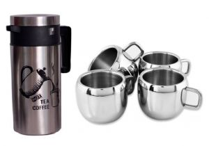Buy Set Of Insulated Flask Hot & Cold Thermus And 4 Double Wall Steel Apple Tea Cups online