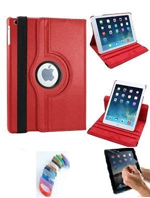 Buy Pu Leather Full 360 Degree Rotating Flip Book Case Cover Stand For Ipad Air 5 (red) With Matte Screen Guard And Wrist Band online