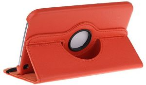 Buy Pu Leather Full 360 Rotating Flip Book Cover Case Stand For Samsung Galaxy Tab 3 T311 (orange) online