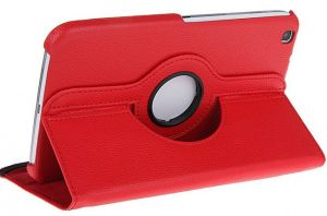 Buy Pu Leather Full 360 Rotating Flip Book Cover Case Stand For Samsung Galaxy Tab 3 T311 (red) online
