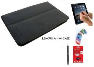 Buy Pu Leather Flip Book Case Cover Stand For Lenovo A3300 Ideatab (black) With Matte Screen Guard, Stylus, Wrist Band + 16GB Sandisk External Pendrive online