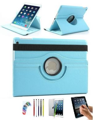 Buy Pu Leather Full 360 Degree Rotating Flip Book Case Cover Stand For Ipad 4 Ipad 3 Ipad 2 (sky Blue) With Matte Screen Guard, Stylus And Wrist Band online