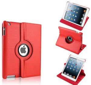 Buy Pu Leather Full 360 Degree Rotating Flip Book Case Cover Stand For Ipad 4 Ipad 3 Ipad 2 (red) online