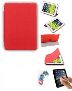 Buy Ultra Thin Magnetic Smart Case Clear Back Cover Stand For Apple Ipad Mini 2 Retina (red) With Matte Screen Guard And Wrist Band online