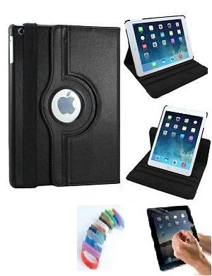 Buy Pu Leather 360 Degree Rotating Leather Case Cover Stand (black) For Ipad Mini 2 Retina With Matte Screen Guard And Wrist Band online
