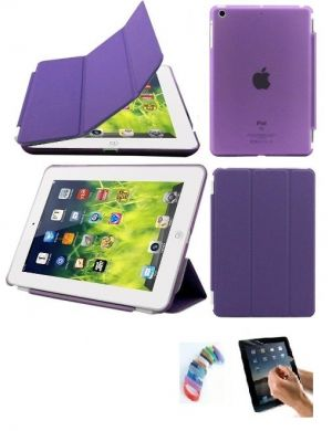 Buy Ultra Thin Magnetic Smart Case Clear Back Cover Stand For Apple Ipad Mini 2 Retina (purple) With Matte Screen Guard And Wrist Band online