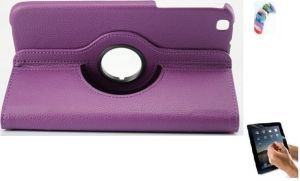 Buy Pu Leather Full 360 Rotating Flip Book Cover Case Stand For Samsung Galaxy Tab 3 T311 (purple) With Matte Screen Guard And Wrist Band online