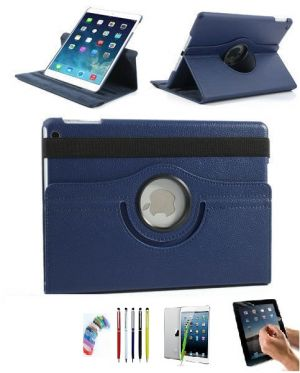 Buy Pu Leather Full 360 Degree Rotating Flip Book Case Cover Stand For Ipad Air5 (navy Blue) With Matte Screen Guard, Stylus And Wrist Band online
