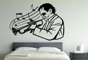 Buy Decor Kafe Decal Style Men Play Trumpet Wall Sticker online