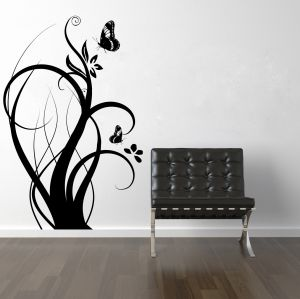 Buy Decor Kafe Decal Style Floral Branch With Butterflies Wall Sticker online