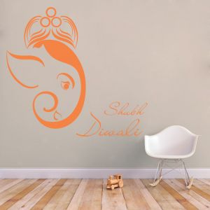 Buy Decor Kafe Decal Style Shubh Deepawali Wall Sticker online