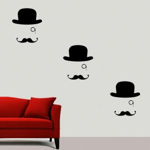 Buy Decor Kafe Decal Style Hat And Moustache Medium Wall Sticker online