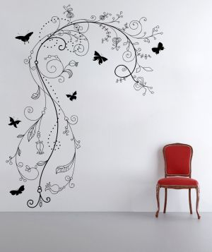 Buy Decor Kafe Decal Style Butterfly Branch Floral Wall Sticker online