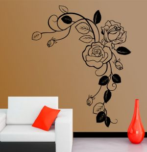Buy Decor Kafe Decal Style Rose Branch Wall Sticker online