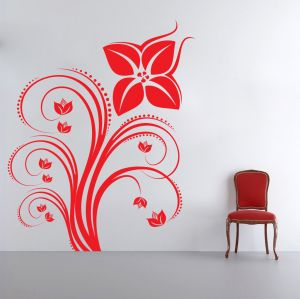 Buy Decor Kafe Decal Style Red Swirl Flower Wall Sticker online