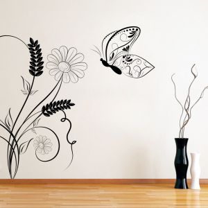 Buy Decor Kafe Decal Style Butterfly On A Swirl Wall Sticker online
