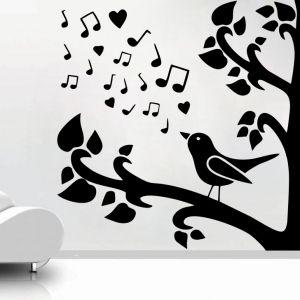 Buy Decor Kafe Decal Style Bird Singing On Tree Medium Wall Sticker online