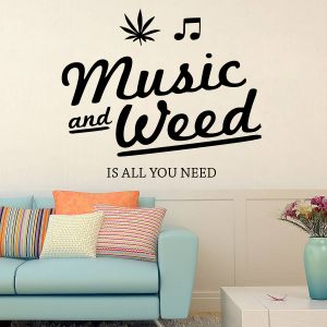 Buy Decor Kafe Decal Style Music And Weed Large Wall Sticker online