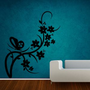 Buy Decor Kafe Decal Style Butterfly On Branch Medium Wall Sticker online