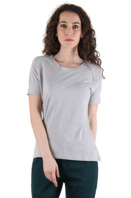 Buy CHIMERA Grey Half Sleeve Solid 100% Cotton Round Neck T Shirt For Women online
