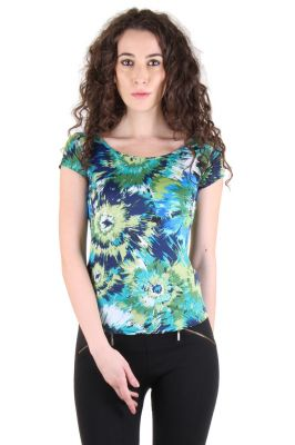Buy Chimera Short Sleeve Printed Polyester Round Neck T Shirt For Women online