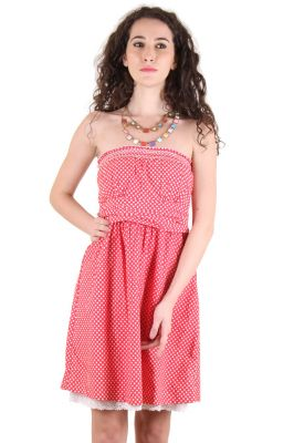 Buy CHIMERA Red Sleeveless Polka Print 100% Cotton A-line Dress For Women online