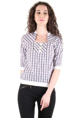 Buy Chimera Short Sleeve Checkered 100% Cotton Square Neck Top For Women online