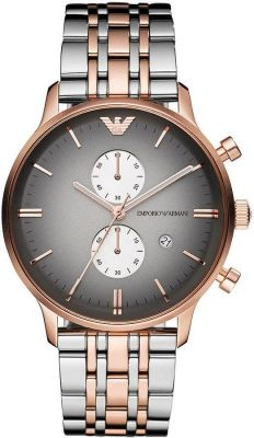 Buy Emporio Armani Ar1721 Mens Grey And Rose Gold IP Gianni Watch online