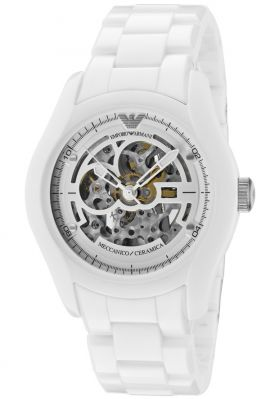 Buy Imported Emporio Armani Ar1415 Automatic Skeleton Dial White Ceramic Men's Watch online