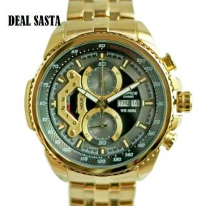 Buy Imported Casio Edifice 558 Black Dial Full Gold Chain Watch For Men online