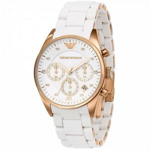 Buy Armani  White Dial Copper Silicon Watch For Men online