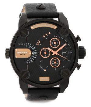 Buy Diesel Little Daddy Dz 7291 Black Leather Men's Watch - Black online