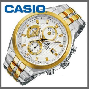 Buy Casio Edifice Ef-556d-7avdf Silver-gold / Two Tone Band Chronograph Watch online