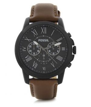 Buy Imported Fossil Grant Chronograph Black Dial Brown Leather Men'S Watch online