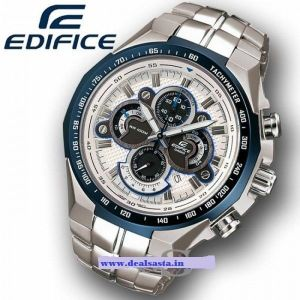 Buy Casio 554 White And Blue Dial With Silver Chain Watch For Men online