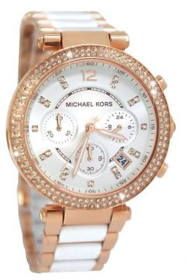 Buy Michael Kors Women'S Rose Gold-White Tone Chronograph Watch.New online