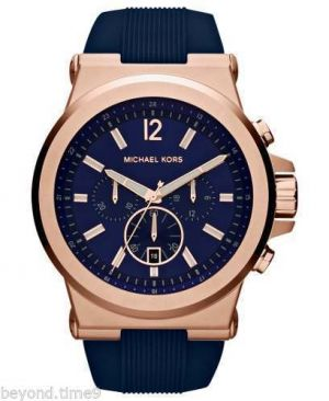 Buy Imported Michael Kors Mk-8295 Dylan Blue Rose Gold Silicon Men's Chronograph Wrist Watch online